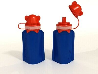 NEW My Squeeze 170mL Reusable Food Pouch- Red Lid Blue Body