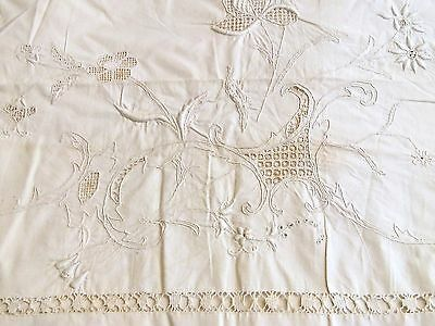 "Large Antique Embroidered French Linen Sheet - 92""  x  115"""