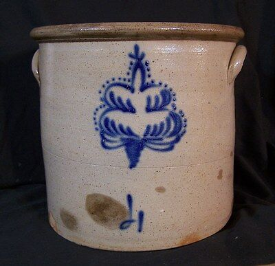 Antique Stoneware Pottery Cobalt Blue Decorated Design Crock 4 Gallon c1880