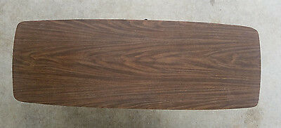 Vintage Mid Century Modern Wood Grain Couch Dining Coffee Table Console Cocktail