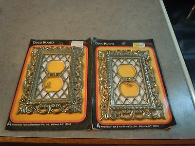 Vintage  Hollywood Regency Double Light Switch Plate Covers Venetian Pearl NOS