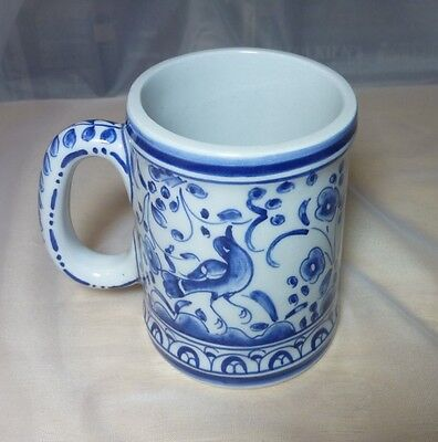 Conimbriga Mug Made in Portugal, Original Vintage Blue and White 3.5 inches tall