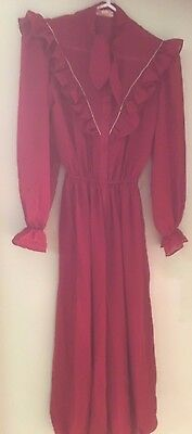 Vintage 1981 Dark Red Burgundy long sleeve Jump suit, good condition