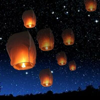 50x Chinese Sky Lanterns Environmental Friendly Sky Floating Lamp KongMing Light