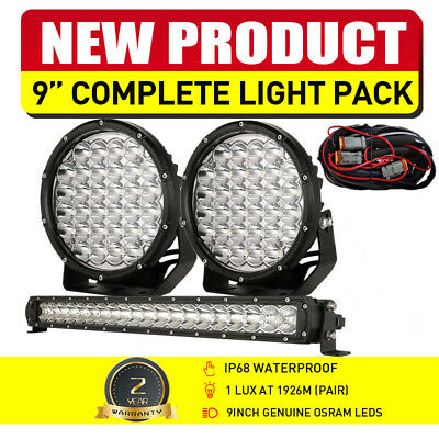7inch 98000W Round Cree LED Spot Work Driving Spotlights Red Offroad ATV Jeep