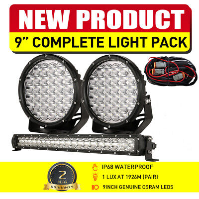7inch 9990w Black Round Cree LED Spot Work Driving Lights Offroad 4x4 HID Truck