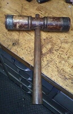 Antique Nautical Shipwrights Iron Wood Ship Boat Caulking Hammer Mallet early