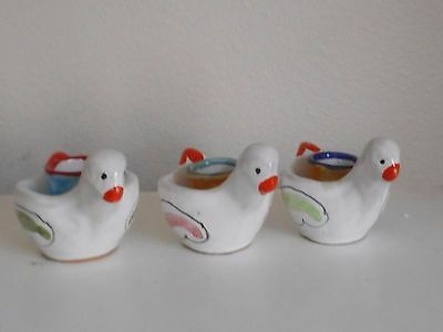 3 Vintage Nino Parrucca Chicken Bird Figure Candle Holders Made in Italy Pottery