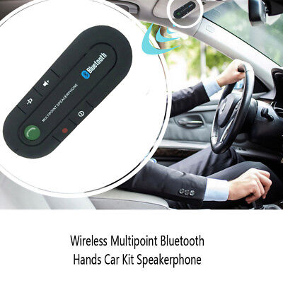 Wireless Multipoint Bluetooths Hand Free Car Kit Speakerphone Speaker Visor Clip