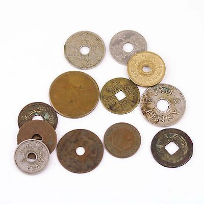 Lot of Old Foreign Currency Coins Holes