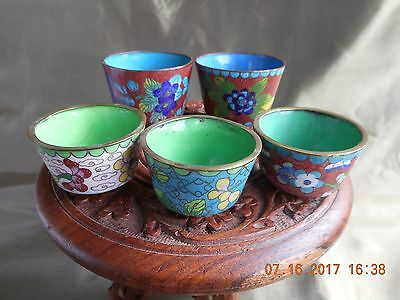 Antique Chinese Cloisonne Sake Cups, Multi-Color, 2 Sizes, 1940