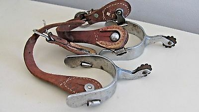Vintage Country Western Cowboy Old West Boot Spurs & Leather Straps - Heavy