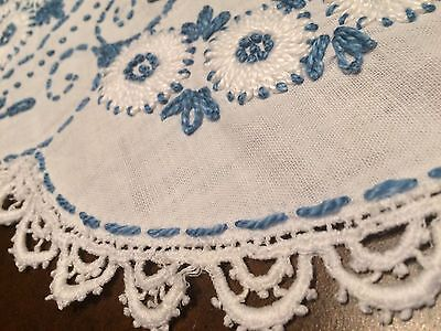 Antique Linen Embroidered Table Topper with Cobalt Blue & White