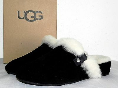 New Womens Size 8 Ugg Elanor Black Sheepskin Suede Slippers Mules Slides Wedges