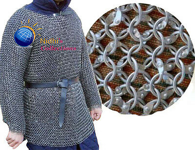 Aluminium Large Medieval Hauberk Armour Chainmail Shirt Costumes Dress 10 Mm