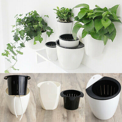 Modern Self-watering Plant Flower Pot Wall Hanging Plastic Planter Home Garden