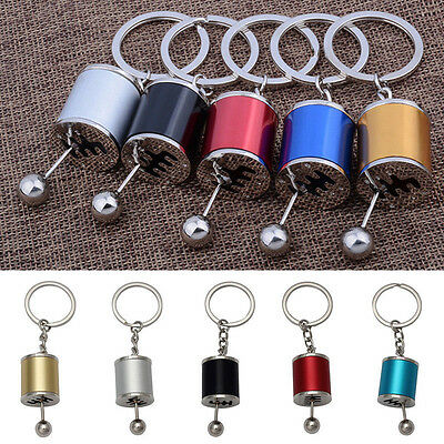 Metal Alloy Key Ring Keyring Keychain 6-Speed Gearshift Shift Gearbox Decor