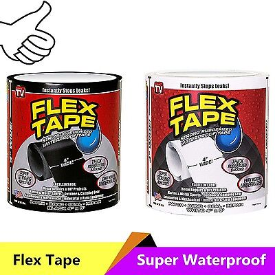 "4""x5' Flex Tape Patch Bond Super Strong Rubberized Waterproof Seal Repair"
