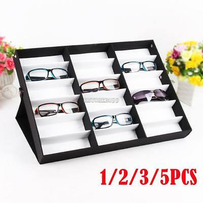 Lot1~5 Storage Display Case Box for Eyeglass Sunglass Glasses 18 Compartments E9