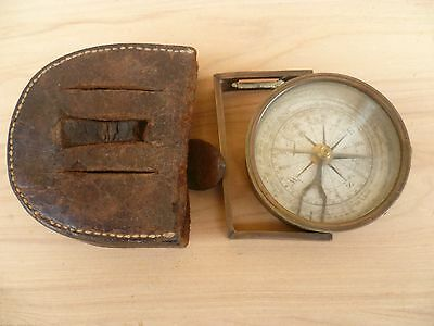 Antique Old Brass Compass & Leather Case, Old Compass (E420)