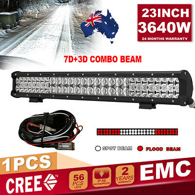 23''3640W 7D+3D Lens CREE Spot & Flood Combo beam LED Light Bar Driving Work 4WD