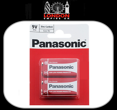 2 x Panasonic 9V Zinc PP3 (MN1604 / 6F22 / 6LR61) Carbon Batteries  2 Pack
