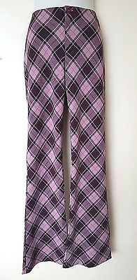 Vintage 1990s Aztec Rose Flares~ Purple Pink Checked Tartan~ 10 Medium ~Ex Con