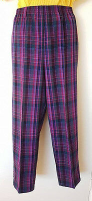 Vintage High Waisted Cropped Womens Pants~ Size 14~ Purple and Pink Check Tartan