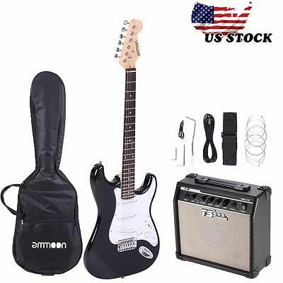 Full Size Black Electric Guitar with 15W Amp, Case Accessories Kit Beginner USA