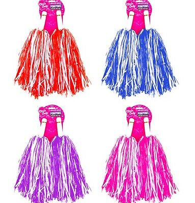 2Pack Pom Poms Pompom Pink Blue Purple Baton Party Fancy Dress Cheerleader