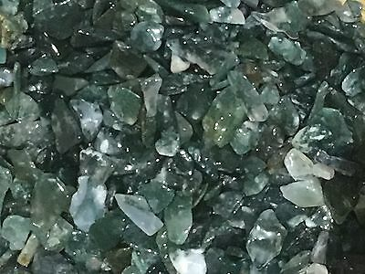 Dark Green Moss Agate Crystal Chips 100grams, Not Drilled