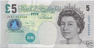 BANK OF ENGLAND £5 FIVE POUNDS # 888888  SOLID 8's UK GREAT BRITAIN BANKNOTE