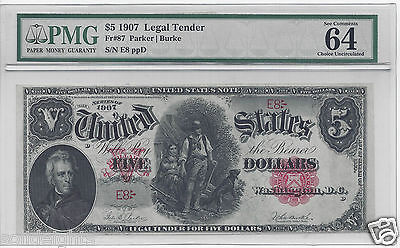1907 $5 WOODCHOPPER LEGAL TENDER  s/n E8  PMG-64 CHOICE UNCIRCULATED LOW #8 NOTE
