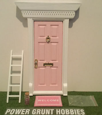 "Fairy Door Light Pink With Gold Key, ""welcome"" Mat, Fairy Dust & Foot Step"