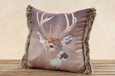 Stag Pillow with Fur Cover incl. Filling 45x45cm Brown Deer's Head Deer Pillow
