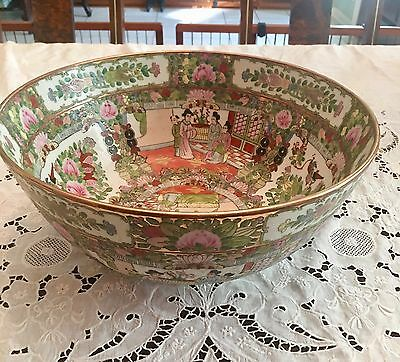 Magnificent Large  Chinese Export Rose Medallion Centerpiece/Punch Bowl