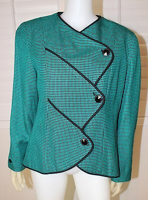 Women's Vintage 1980's Teal & Black Check Blazer, Size 12 or Large, Pre-Owned