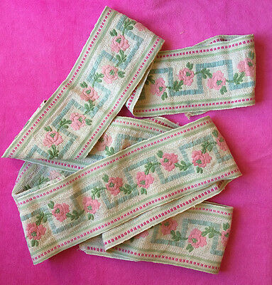 Vintage embroidered Jaquard ribbon tape triming floral roses pink green 9cm 2.4m
