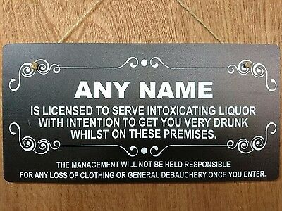 Personalised Man Cave Sign Home Shed Pub Bar Licensee Salon bar