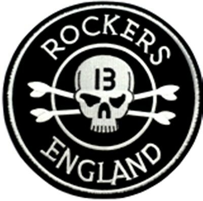 Embroidered iron on sew on large motorcycle Rockers England biker back patch