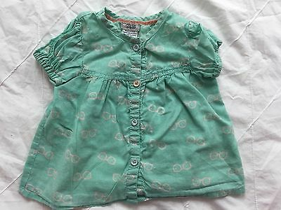 Mamas And Papas Mint Green Top, Age 6-9 Months