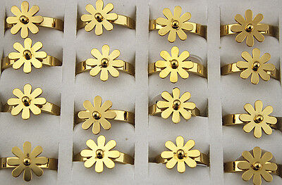 Job New Lots 28pcs Stainless steel Sun Flower Fashion Girl's Cute Gold P Rings