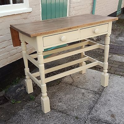Antique, Victorian, Painted, waxed, Worktop,Pine and Cream Dairy Table with Flap