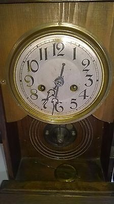 Vintage Wall Clock Antique  Works ,but Spares Or Repair