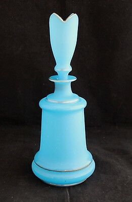Antique 19Th Century Cologne Perfume Bottle Satin Blue Glass Gold Gilt