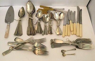 Quality Lot Of 66x Silver Plate EPNS A1 Antique Cutlery Mixed Lot, Rare Patterns