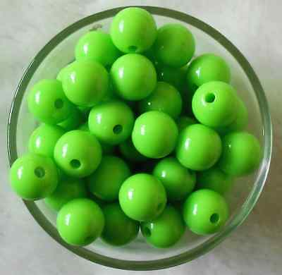 50Pcs 10mm Green Acrylic Round DIY Spacer Loose Beads