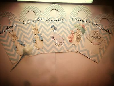 Peter Rabbit Baby Wardrobe Dividers - All Ages Available - 300gsm Linen Card