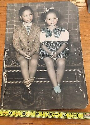 Large 9 X 6 Real Photo African-American Little Girl And Boy Hand Tinted