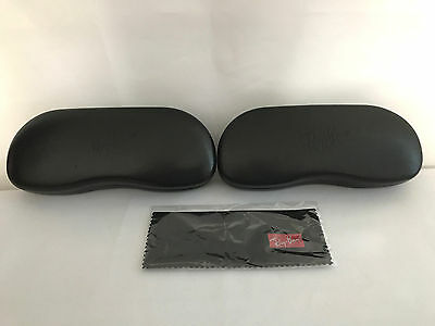 2 Ray Ban Glasses Case Eyeglass Holder Black Leather Hard Shell Cleaning Cloth